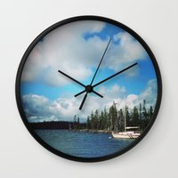 waldo Wall Clocks featuring Waldo Lake, OR by Maddy McBride