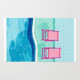 Vay-K - abstract memphis throwback poolside swim team palm springs vacation socal pool hang Rug