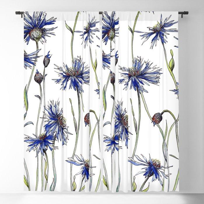 Blue Cornflowers, Illustration Blackout Curtain