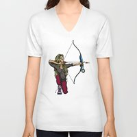 archer V-neck T-shirts featuring Archer by Natalie Easton