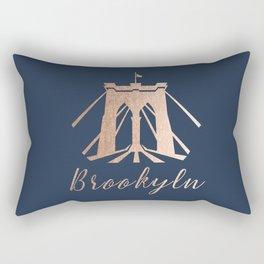 Rosegold on Navy Brooklyn Bridge Rectangular Pillow