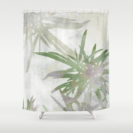 Olive Green Palm Leaves Watercolor Painting Shower Curtain