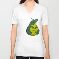 pear V-neck T-shirts featuring Alligator Pear by Chris Piascik