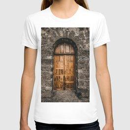 CLOSED BROWN WOODEN DOOR T-shirt
