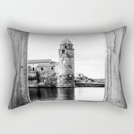 Picture Perfect | Black and White Collioure France Medieval Church Tower Scenic View Marina Rectangular Pillow