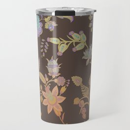 Chateau Brown Chinoiserie Decorative Floral Motif Chintz Travel Mug