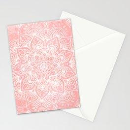 🤍, Mandala, Yoga Love, Coral, Wall Art Boho Stationery Cards