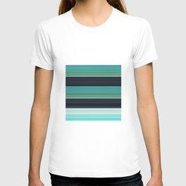 Solid Aqua Teal Black Stripes T-shirt