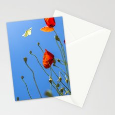 Red Poppies with White Butterfly in Blue Sky  Stationery Cards
