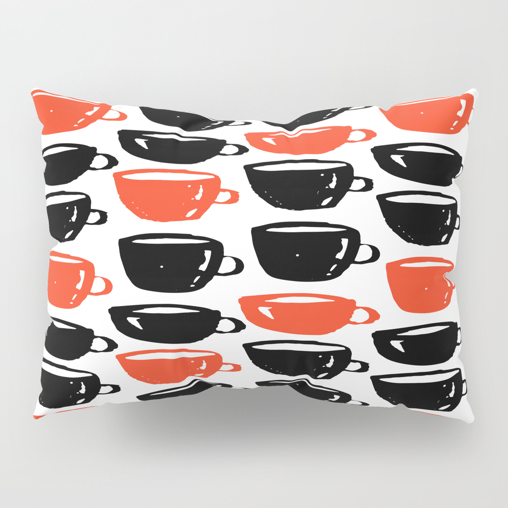 Quirky Cool Coffee Cups Pattern Pillow Sham by Ankka PSH7928857