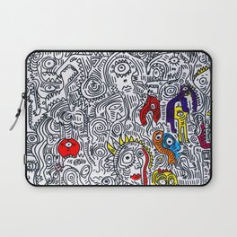 Pattern Doddle Hand Drawn  Black and White Colors Street Art Laptop Sleeve