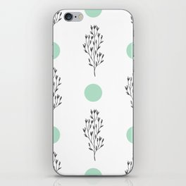 Black brunches & green dots pattern iPhone Skin