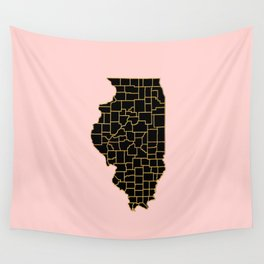 Illinois map Wall Tapestry