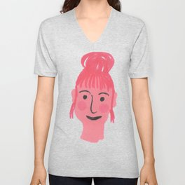 """Vicky"" girl with bun and rosy cheeks Unisex V-Neck"