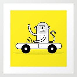 Monkey Car Art Print