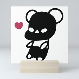 Black Kawaii Panda Bear Mini Art Print