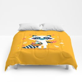 Cute Raccoon Collect Flowes Comforters