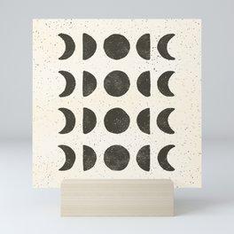 Moon Phases - Black on Cream Mini Art Print