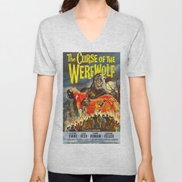 The Curse of the Werewolf, vintage horror movie poster Unisex V-Neck