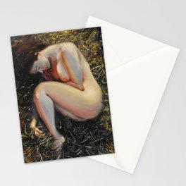 Woman among the grass Stationery Cards