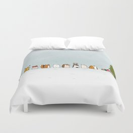 winter animals on the christmas tree Duvet Cover