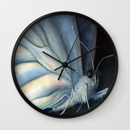 White Morpho Butterfly Wall Clock