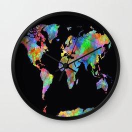 world map watercolor black 2 Wall Clock
