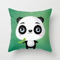 panda Throw Pillows featuring Panda by Maria Jose Da Luz
