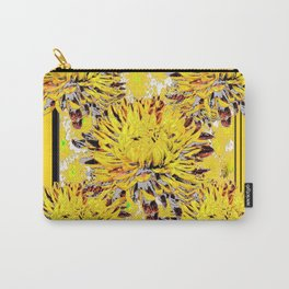 Abstracted Grey-Yellow Chrysanthemums Floral Carry-All Pouch