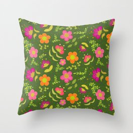 Bright Rounded Flowers on Bed of Dark Olive Leaves (pattern) Throw Pillow