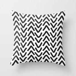 chevron black on white Throw Pillow