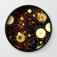 floral pattern Wall Clocks featuring Floral pattern by Klara Acel