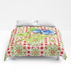 Maine Blueberry Red Gingham Mandala Comforters