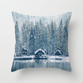 Winter's Cottage (Color) Throw Pillow