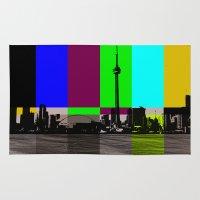toronto Area & Throw Rugs featuring Toronto by Shazia Ahmad