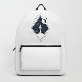 Rocket In Space. Double Exposure. Geometric Style Backpack