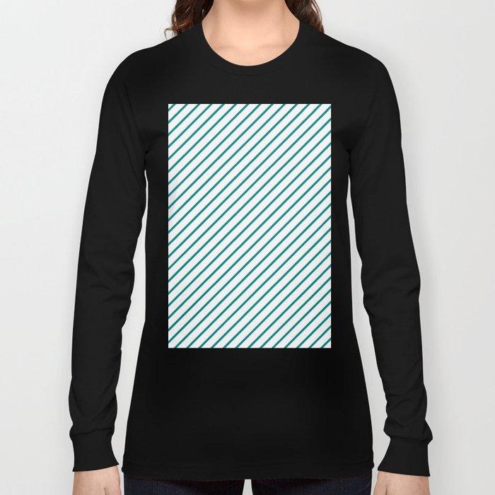 Diagonal Lines (Teal/White) Long Sleeve T-shirt