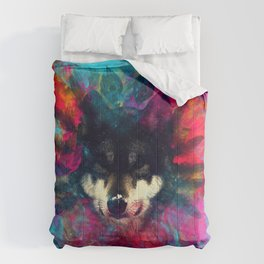 Wolf and the colors, colors, pink, blue, flower, feathers,  Comforters