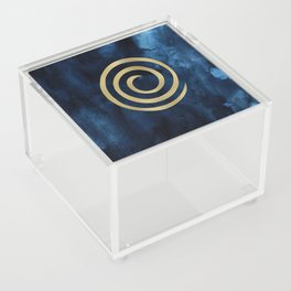 Infinity Navy Blue And Gold Abstract Modern Art Painting Acrylic Box