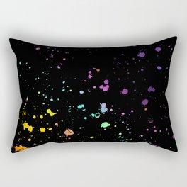 Rainbow Splatter on Black Rectangular Pillow
