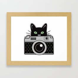 Black Cat and Camera Framed Art Print