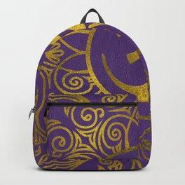 Golden  OM symbol with  on pastel purple Backpack