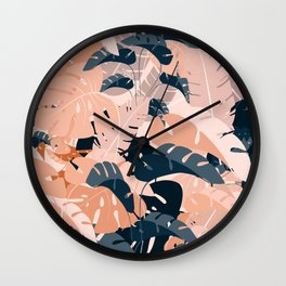 Monsteras in sienna blue Wall Clock