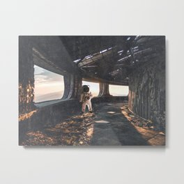 Astronaut in an Abandoned Building Metal Print