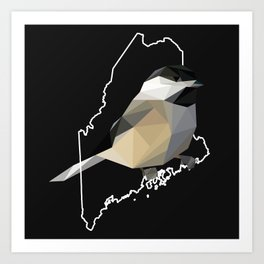 Maine – Black-Capped Chickadee (Black) Art Print