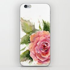 Red Rose Watercolor Pink Rose Flower Floral Art iPhone & iPod Skin