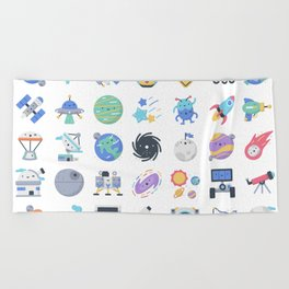CUTE OUTER SPACE / SCIENCE / GALAXY PATTERN Beach Towel