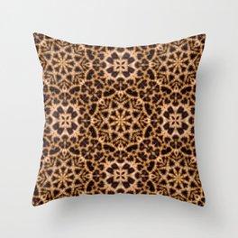 Leopard Fur Abstract Kaleidoscope Print Throw Pillow