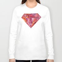 geode Long Sleeve T-shirts featuring Million-Carat Ruby by Cat Coquillette