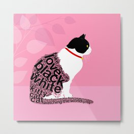 Typographic black and white kitty cat portrait on pink 2 #typography #catlover Metal Print